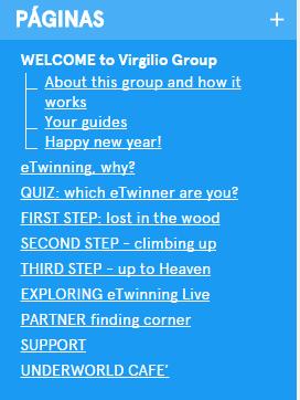Estructura de páginas del grupo eTwinning Virgilio
