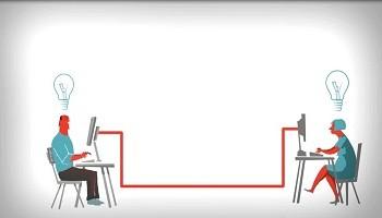ilustración videoconferencia entre docentes