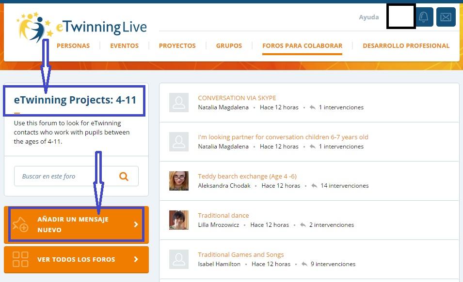 añadir mensaje nuevo en foro de eTwinning Live