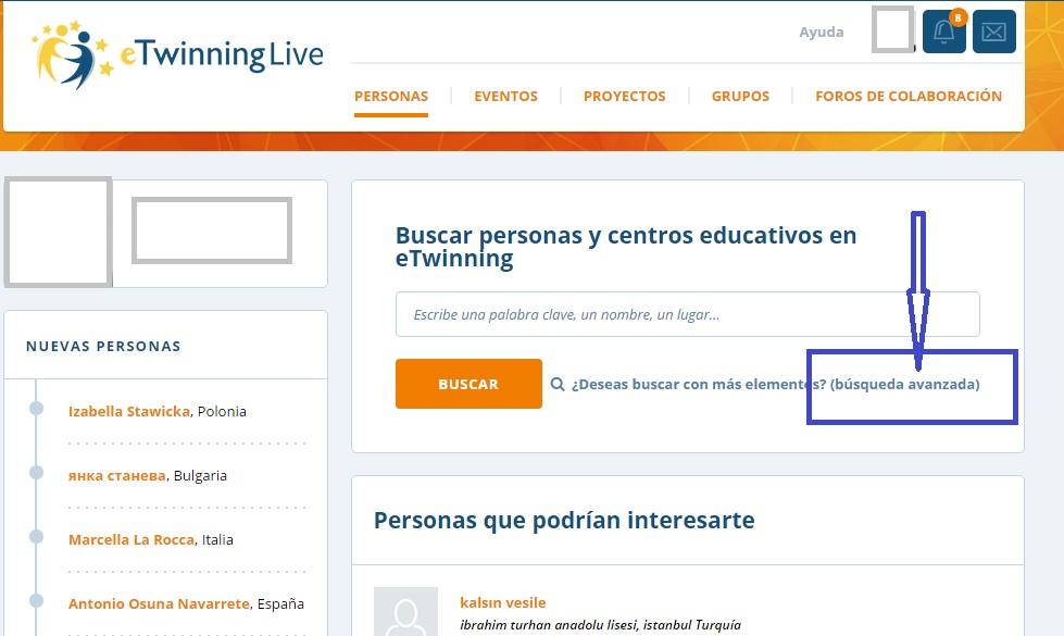 captura pantalla eTwinning Live botón buscador avanzado personas