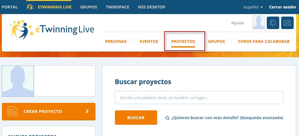 sección proyectos eTwinning